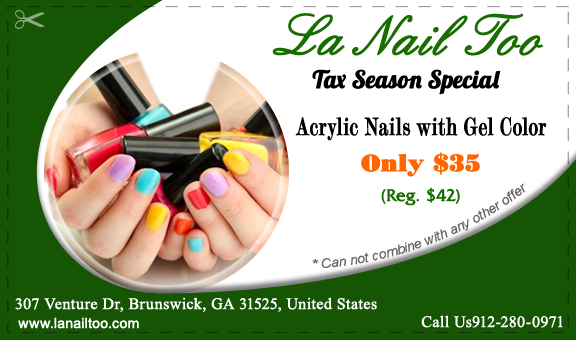 Nail Salon 31525 Of Brunswick Ga La Nail Too Acrylic Nails